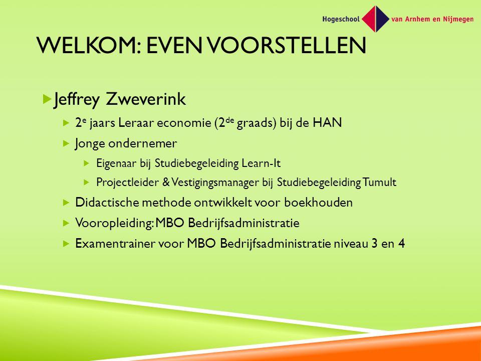 WELKOM: EVEN VOORSTELLEN  Jeffrey Zweverink  2 e jaars Leraar economie (2 de graads) bij de HAN  Jonge ondernemer  Eigenaar bij Studiebegeleiding