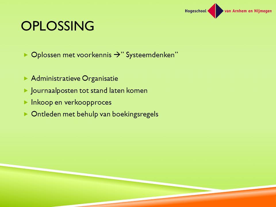 """OPLOSSING  Oplossen met voorkennis  """" Systeemdenken""""  Administratieve Organisatie  Journaalposten tot stand laten komen  Inkoop en verkoopproces"""