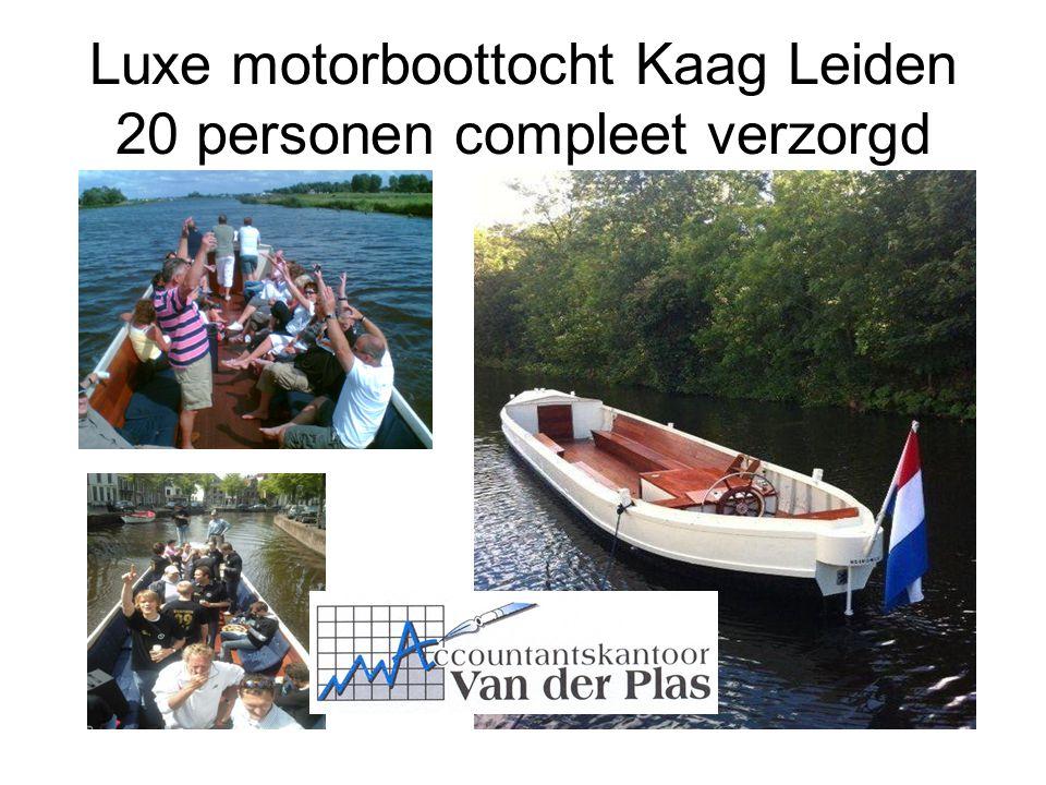 Luxe motorboottocht Kaag Leiden 20 personen compleet verzorgd