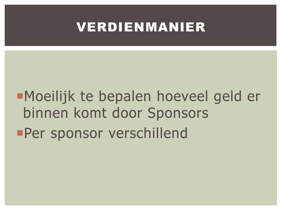  Moeilijk te bepalen hoeveel geld er binnen komt door Sponsors  Per sponsor verschillend VERDIENMANIER