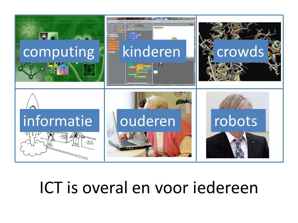 ICT is overal en voor iedereen computing informatie kinderen ouderenrobots crowds