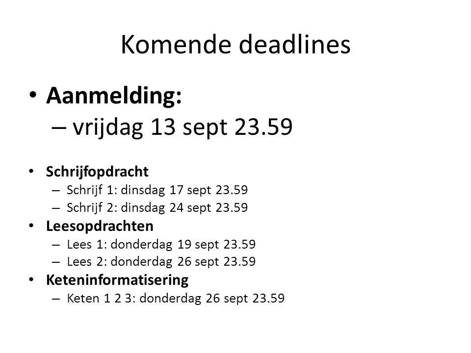Komende deadlines Aanmelding: – vrijdag 13 sept 23.59 Schrijfopdracht – Schrijf 1: dinsdag 17 sept 23.59 – Schrijf 2: dinsdag 24 sept 23.59 Leesopdrac