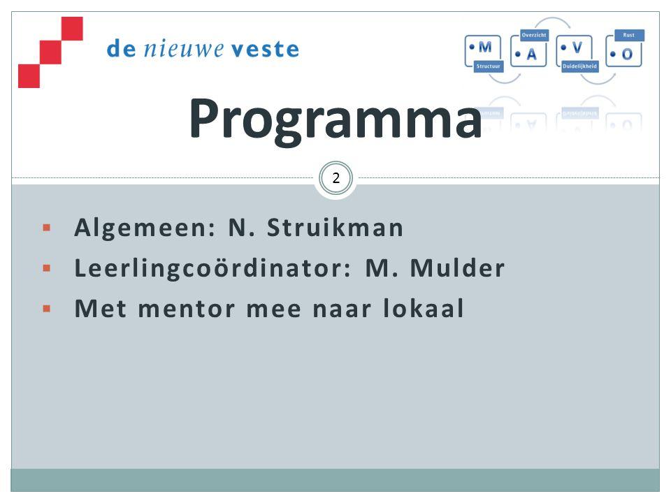 Algemeen: N. Struikman  Leerlingcoördinator: M. Mulder  Met mentor mee naar lokaal Programma 2