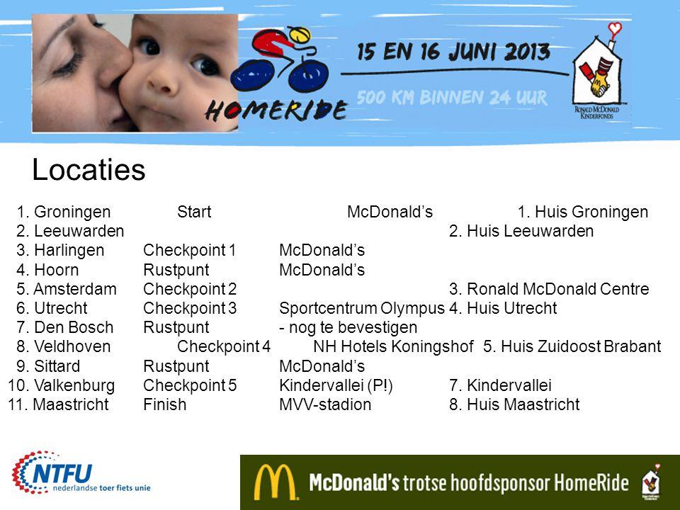 Locaties 1. GroningenStartMcDonald's1. Huis Groningen 2. Leeuwarden2. Huis Leeuwarden 3. HarlingenCheckpoint 1McDonald's 4. HoornRustpuntMcDonald's 5.