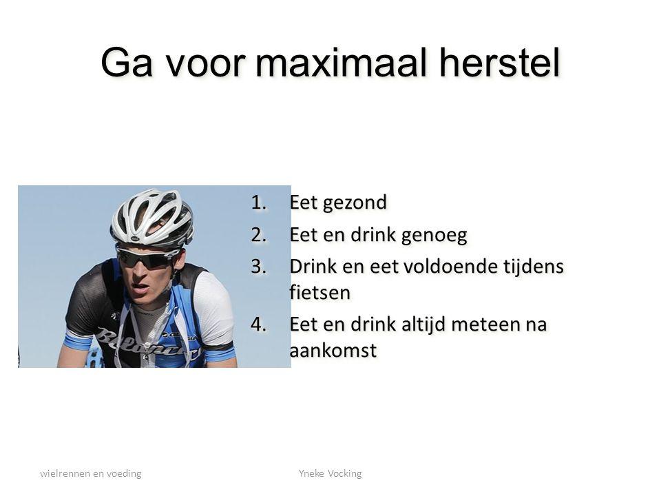 wielrennen en voedingYneke Vocking Ga voor maximaal herstel 1.Eet gezond 2.Eet en drink genoeg 3.Drink en eet voldoende tijdens fietsen 4.Eet en drink