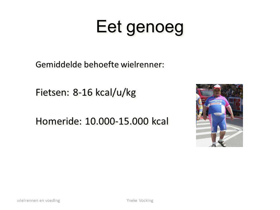wielrennen en voedingYneke Vocking Eet genoeg Gemiddelde behoefte wielrenner: Fietsen: 8-16 kcal/u/kg Homeride: 10.000-15.000 kcal Gemiddelde behoefte