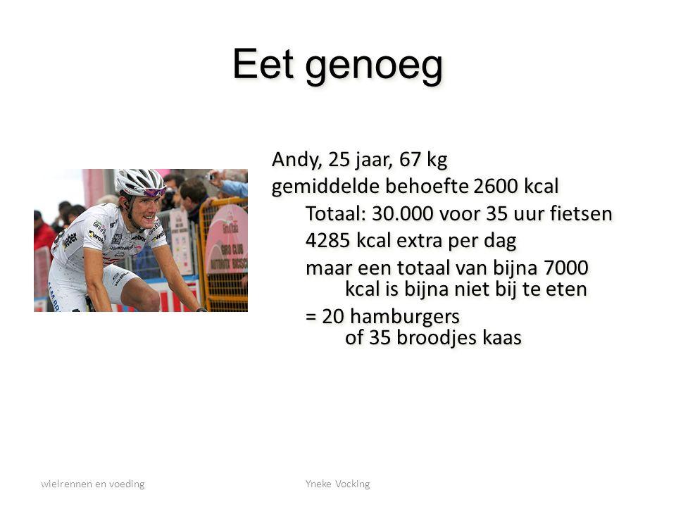 wielrennen en voedingYneke Vocking Eet genoeg Andy, 25 jaar, 67 kg gemiddelde behoefte 2600 kcal Totaal: 30.000 voor 35 uur fietsen 4285 kcal extra pe