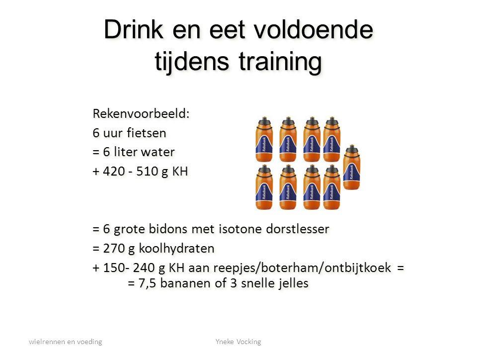 wielrennen en voedingYneke Vocking Drink en eet voldoende tijdens training Rekenvoorbeeld: 6 uur fietsen = 6 liter water + 420 - 510 g KH = 6 grote bi