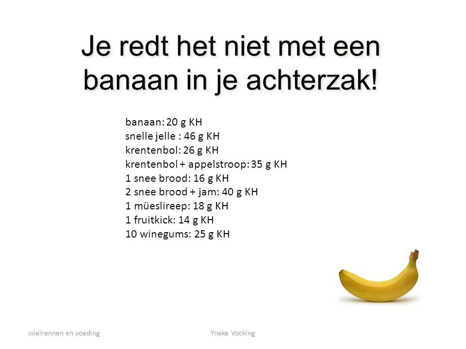 wielrennen en voedingYneke Vocking Je redt het niet met een banaan in je achterzak! banaan: 20 g KH snelle jelle : 46 g KH krentenbol: 26 g KH krenten