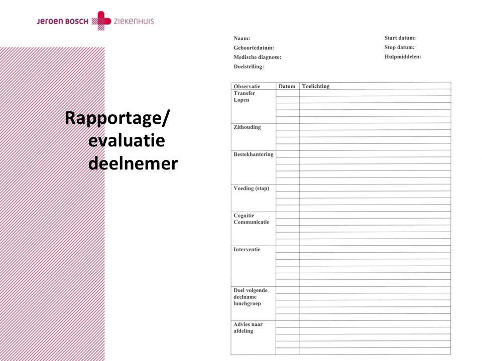 datumcopyrightauteurversie Rapportage/ evaluatie deelnemer