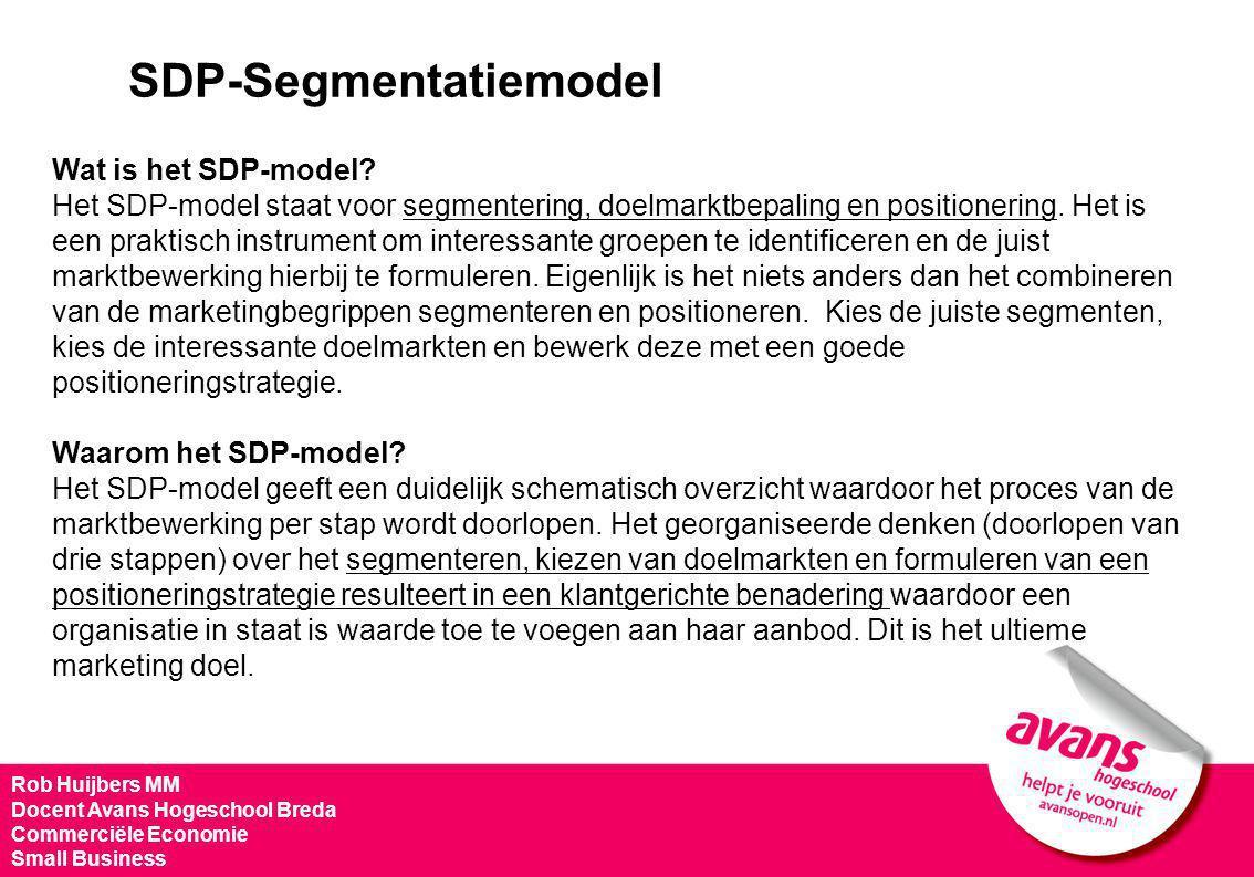 Rob Huijbers MM Docent Avans Hogeschool Breda Commerciële Economie Small Business SDP-Segmentatiemodel Wat is het SDP-model? Het SDP-model staat voor