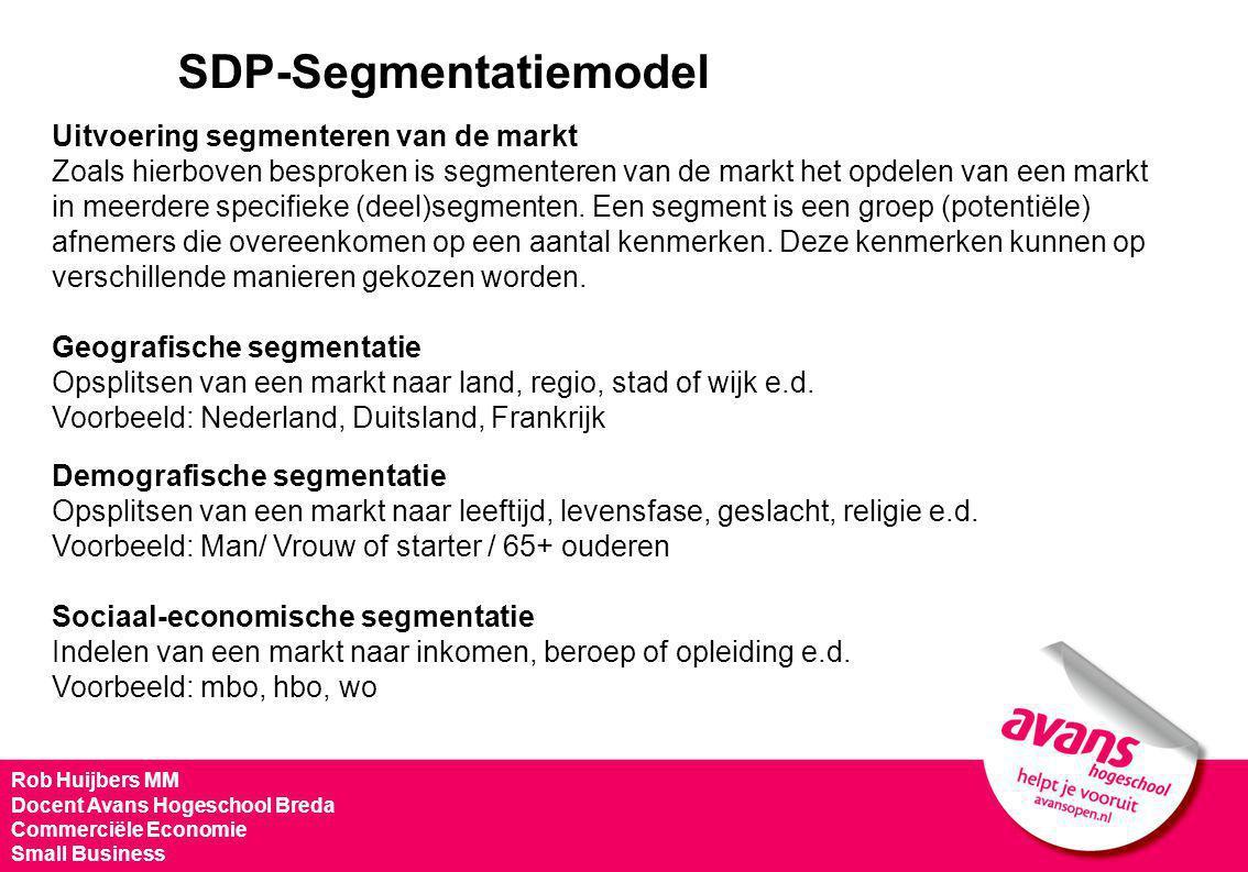 SDP-Segmentatiemodel Uitvoering segmenteren van de markt Zoals hierboven besproken is segmenteren van de markt het opdelen van een markt in meerdere s