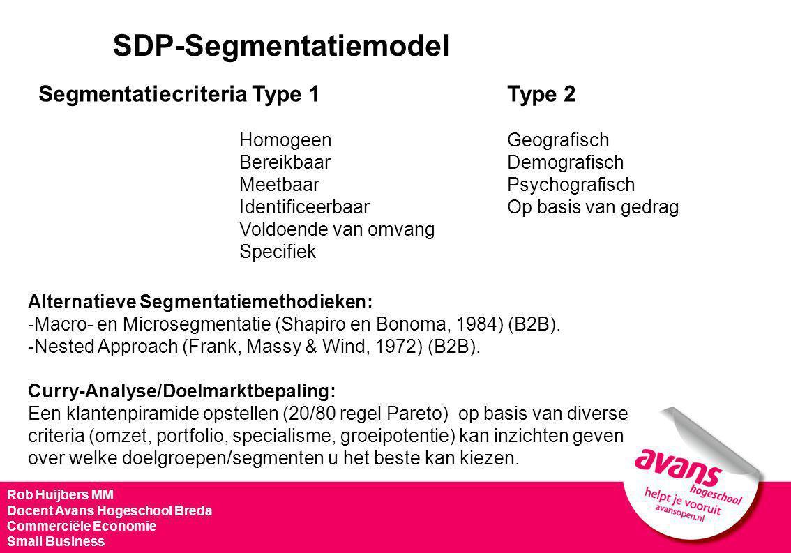 SDP-Segmentatiemodel Segmentatiecriteria Type 1 Type 2 Homogeen Geografisch BereikbaarDemografisch MeetbaarPsychografisch IdentificeerbaarOp basis van