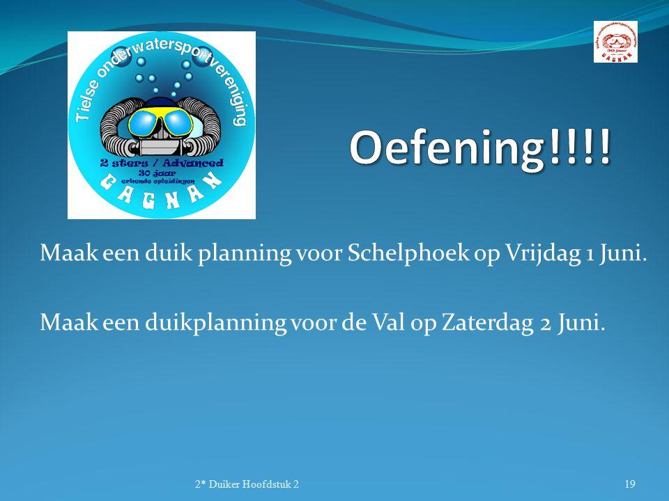 Maak een duik planning voor Schelphoek op Vrijdag 1 Juni. Maak een duikplanning voor de Val op Zaterdag 2 Juni. 2* Duiker Hoofdstuk 219