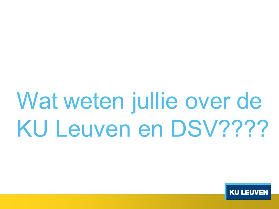 Wat weten jullie over de KU Leuven en DSV????