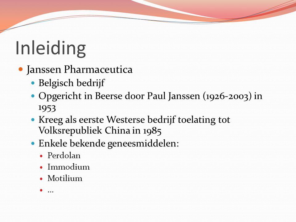 Inleiding Janssen Pharmaceutica Belgisch bedrijf Opgericht in Beerse door Paul Janssen (1926-2003) in 1953 Kreeg als eerste Westerse bedrijf toelating tot Volksrepubliek China in 1985 Enkele bekende geneesmiddelen: Perdolan Immodium Motilium …