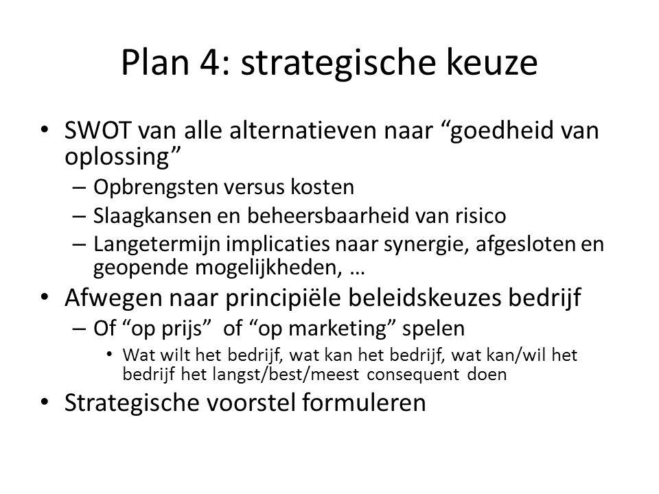 """Plan 4: strategische keuze SWOT van alle alternatieven naar """"goedheid van oplossing"""" – Opbrengsten versus kosten – Slaagkansen en beheersbaarheid van"""