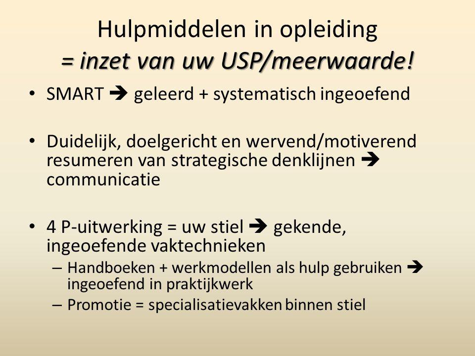 = inzet van uw USP/meerwaarde! Hulpmiddelen in opleiding = inzet van uw USP/meerwaarde! SMART  geleerd + systematisch ingeoefend Duidelijk, doelgeric