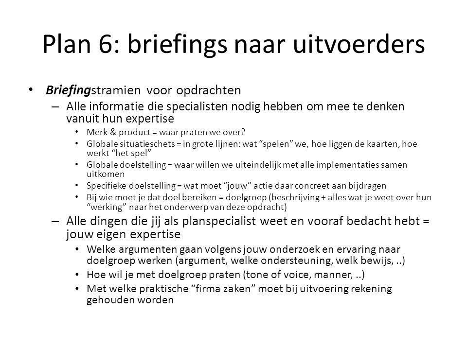Plan 6: briefings naar uitvoerders Briefingstramien voor opdrachten – Alle informatie die specialisten nodig hebben om mee te denken vanuit hun expert