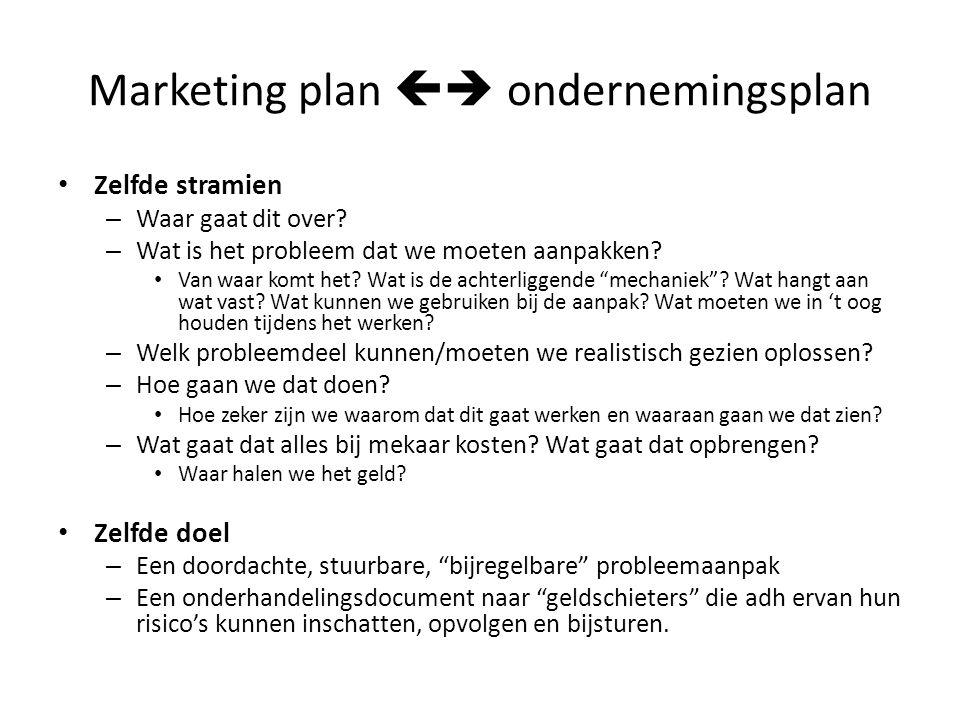 Marketing plan  ondernemingsplan Zelfde stramien – Waar gaat dit over? – Wat is het probleem dat we moeten aanpakken? Van waar komt het? Wat is de a