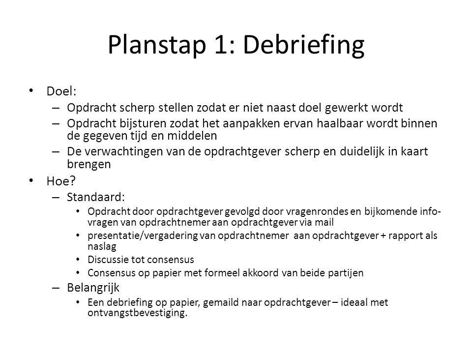 Planstap 1: Debriefing Doel: – Opdracht scherp stellen zodat er niet naast doel gewerkt wordt – Opdracht bijsturen zodat het aanpakken ervan haalbaar
