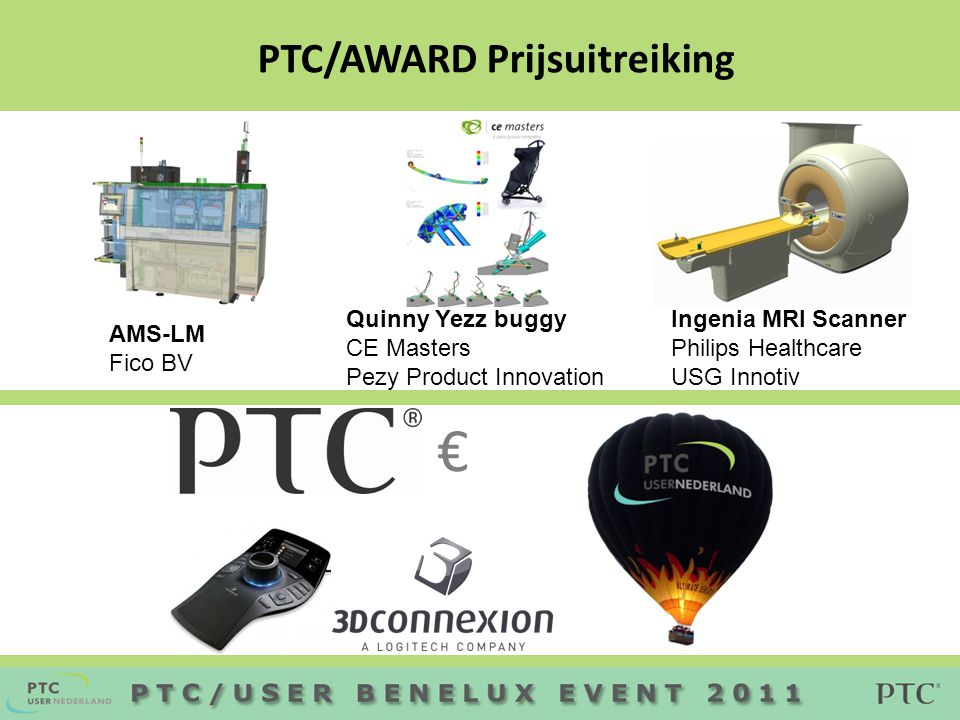 PTC/AWARD Prijsuitreiking € AMS-LM Fico BV Quinny Yezz buggy CE Masters Pezy Product Innovation Ingenia MRI Scanner Philips Healthcare USG Innotiv