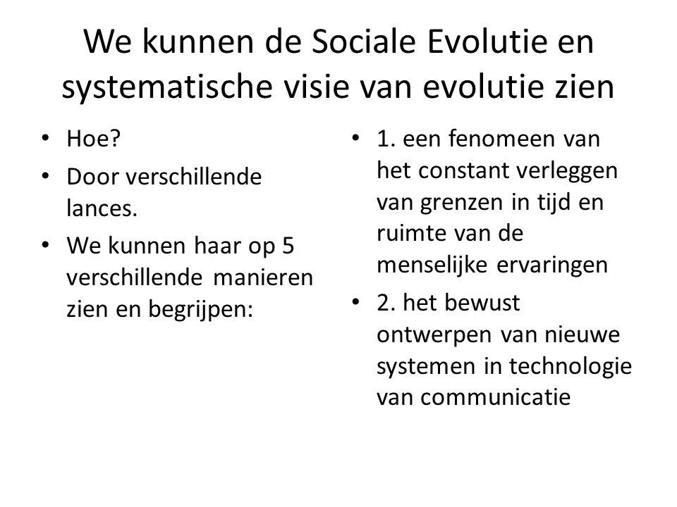 We kunnen de Sociale Evolutie en systematische visie van evolutie zien Hoe.