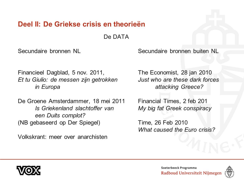 Deel II: De Griekse crisis en theorieën De DATA Secundaire bronnen NLSecundaire bronnen buiten NL Financieel Dagblad, 5 nov. 2011, The Economist, 28 j