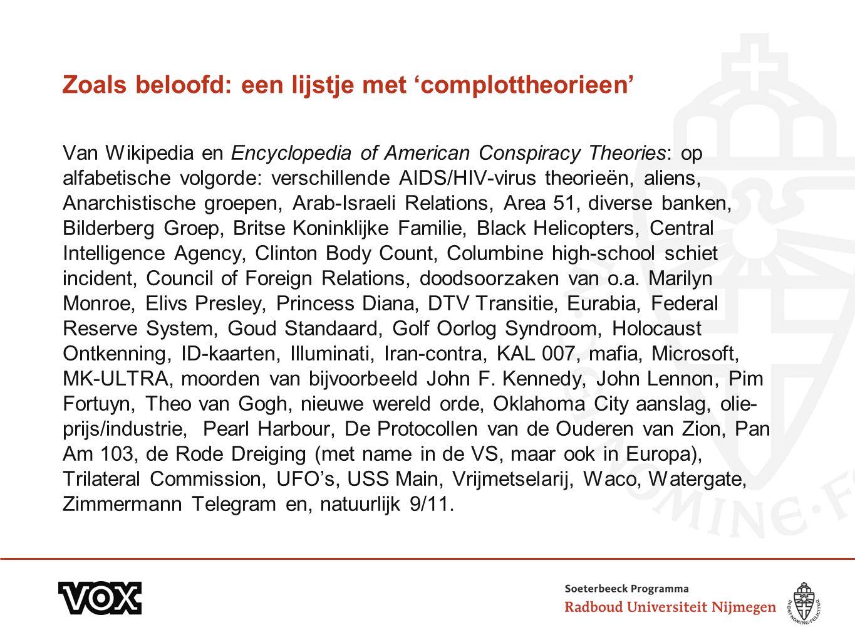 Zoals beloofd: een lijstje met 'complottheorieen' Van Wikipedia en Encyclopedia of American Conspiracy Theories: op alfabetische volgorde: verschillen