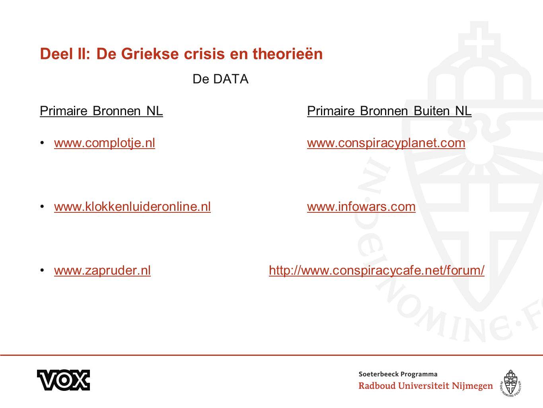 Deel II: De Griekse crisis en theorieën De DATA Primaire Bronnen NLPrimaire Bronnen Buiten NL www.complotje.nl www.conspiracyplanet.comwww.complotje.n