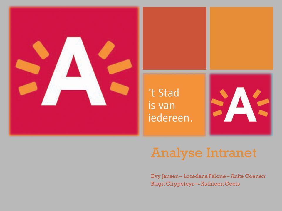 + Analyse Intranet Evy Jansen – Loredana Falone – Anke Coenen Birgit Clippeleyr –- Kathleen Geets