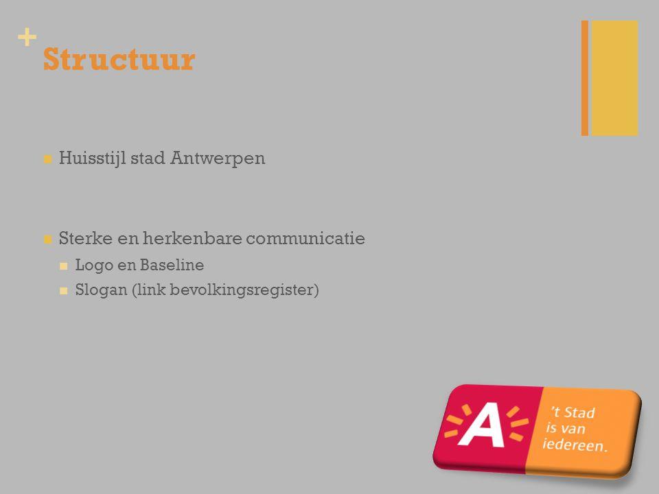 + Structuur Huisstijl stad Antwerpen Sterke en herkenbare communicatie Logo en Baseline Slogan (link bevolkingsregister)