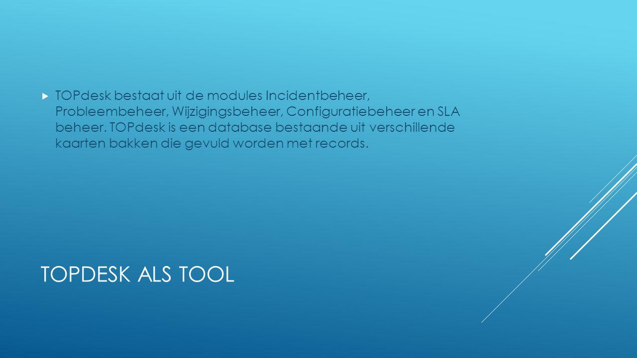 TOPDESK ALS TOOL  TOPdesk bestaat uit de modules Incidentbeheer, Probleembeheer, Wijzigingsbeheer, Configuratiebeheer en SLA beheer. TOPdesk is een d