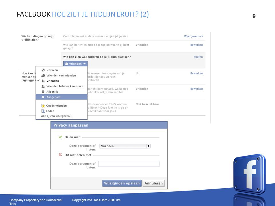 10 Company Proprietary and Confidential Copyright Info Goes Here Just Like This FACEBOOK PRIVACY: FOTO'S EN ALBUMS (1)