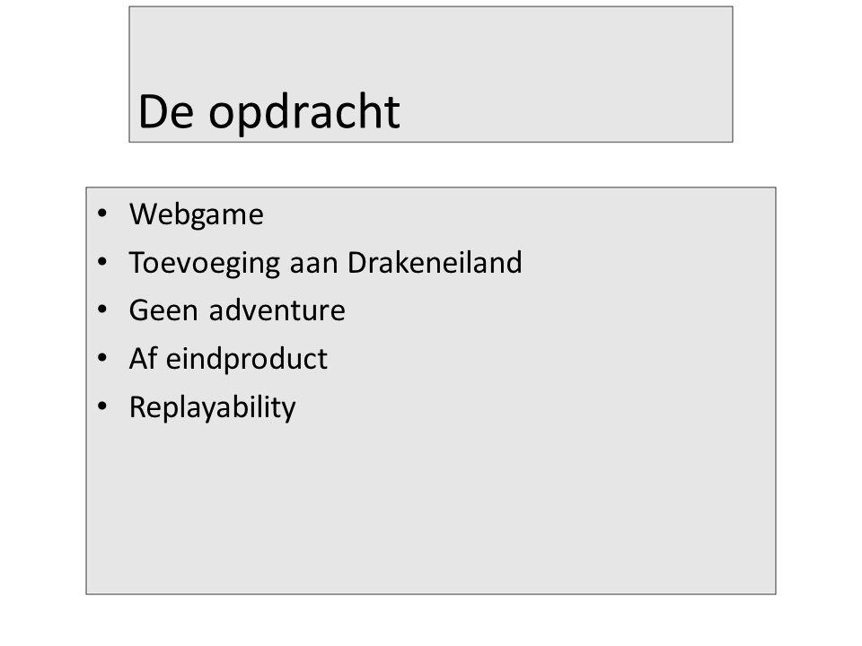 De opdracht Webgame Toevoeging aan Drakeneiland Geen adventure Af eindproduct Replayability