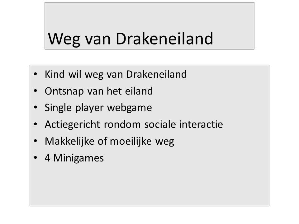 Weg van Drakeneiland Kind wil weg van Drakeneiland Ontsnap van het eiland Single player webgame Actiegericht rondom sociale interactie Makkelijke of moeilijke weg 4 Minigames