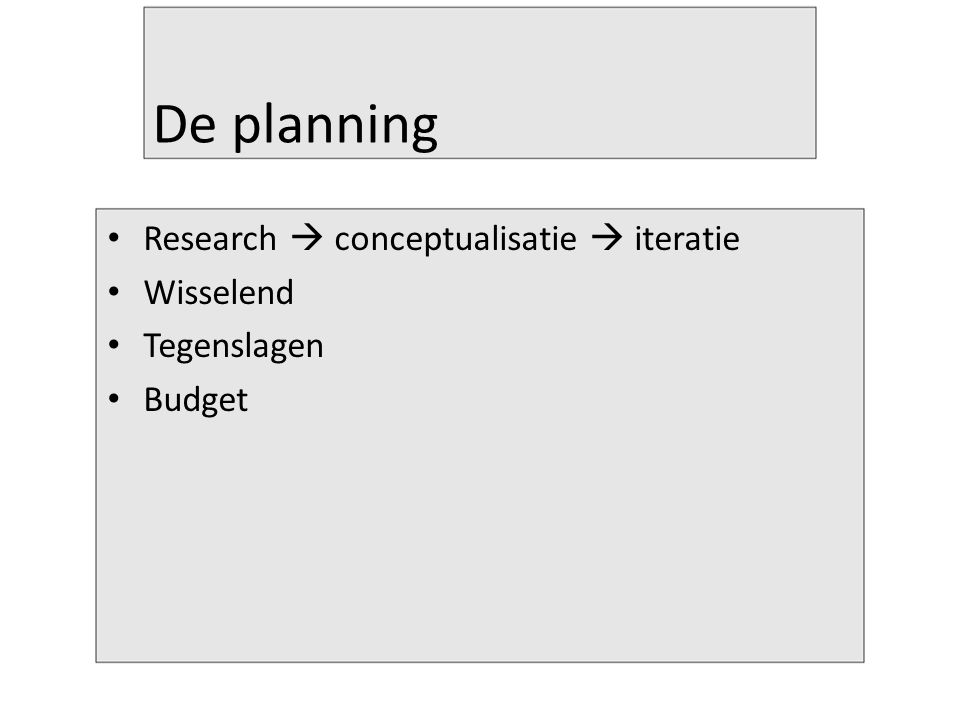 De planning Research  conceptualisatie  iteratie Wisselend Tegenslagen Budget