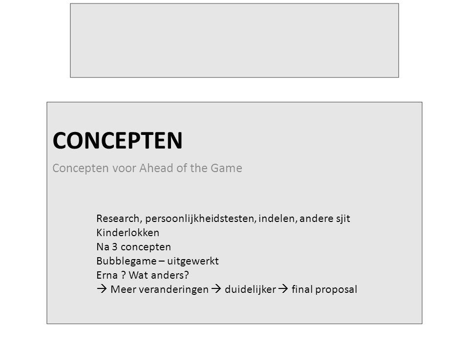 CONCEPTEN Concepten voor Ahead of the Game Research, persoonlijkheidstesten, indelen, andere sjit Kinderlokken Na 3 concepten Bubblegame – uitgewerkt Erna .