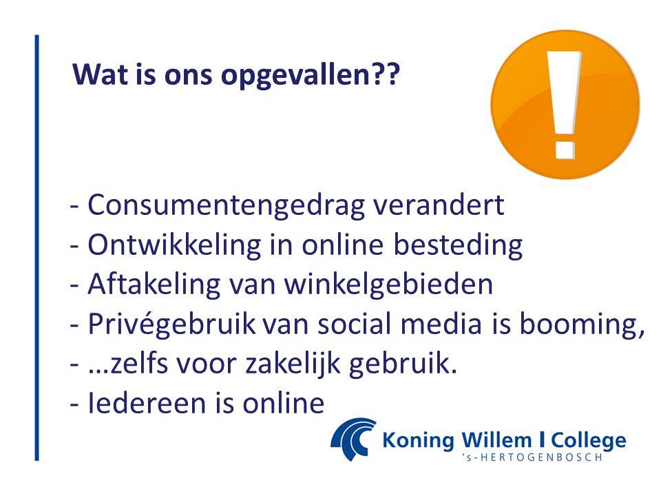 Wat is ons opgevallen?? - Consumentengedrag verandert - Ontwikkeling in online besteding - Aftakeling van winkelgebieden - Privégebruik van social med