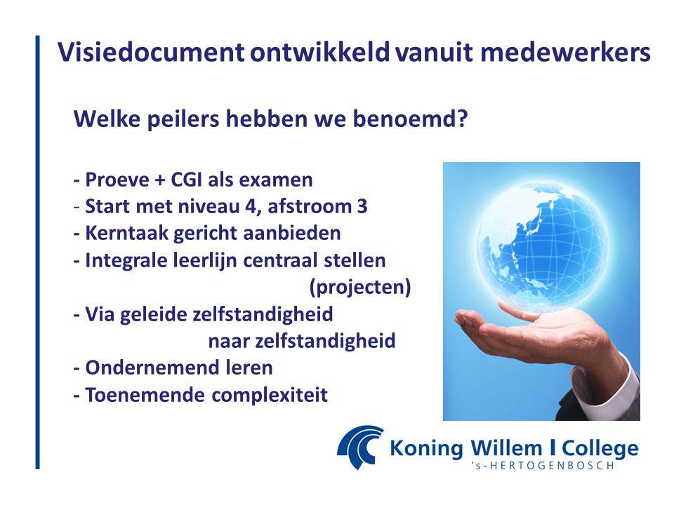 Visiedocument ontwikkeld vanuit medewerkers Welke peilers hebben we benoemd? - Proeve + CGI als examen - Start met niveau 4, afstroom 3 - Kerntaak ger