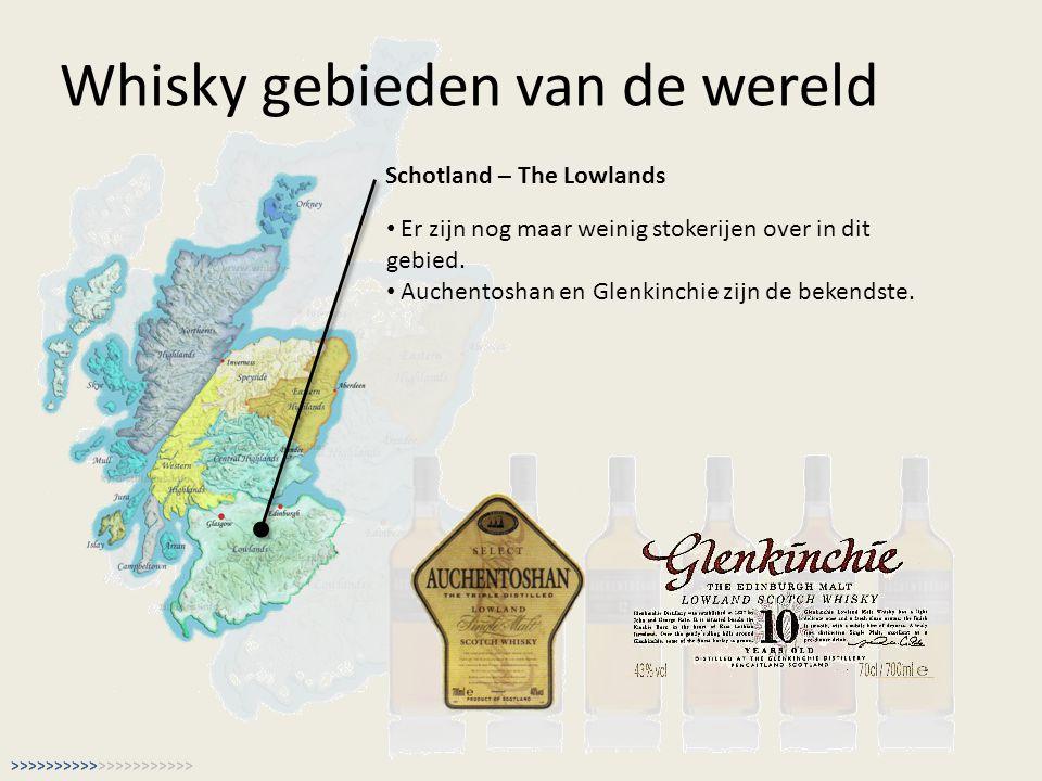 Whisky gebieden van de wereld Schotland – The Lowlands Er zijn nog maar weinig stokerijen over in dit gebied. Auchentoshan en Glenkinchie zijn de beke