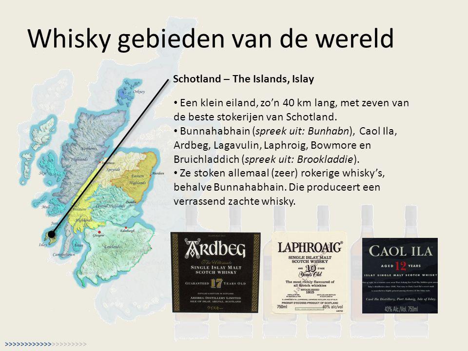 Whisky gebieden van de wereld Schotland – The Islands, Islay Een klein eiland, zo'n 40 km lang, met zeven van de beste stokerijen van Schotland. Bunna