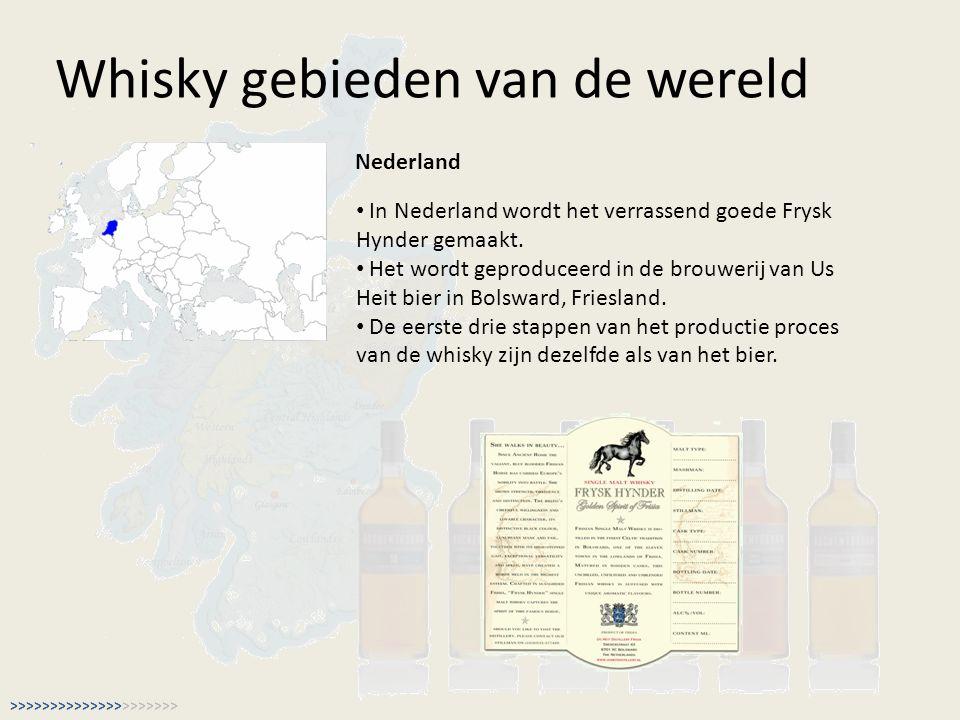 Whisky gebieden van de wereld Nederland In Nederland wordt het verrassend goede Frysk Hynder gemaakt. Het wordt geproduceerd in de brouwerij van Us He