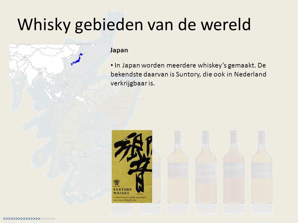 Whisky gebieden van de wereld Japan In Japan worden meerdere whiskey's gemaakt. De bekendste daarvan is Suntory, die ook in Nederland verkrijgbaar is.