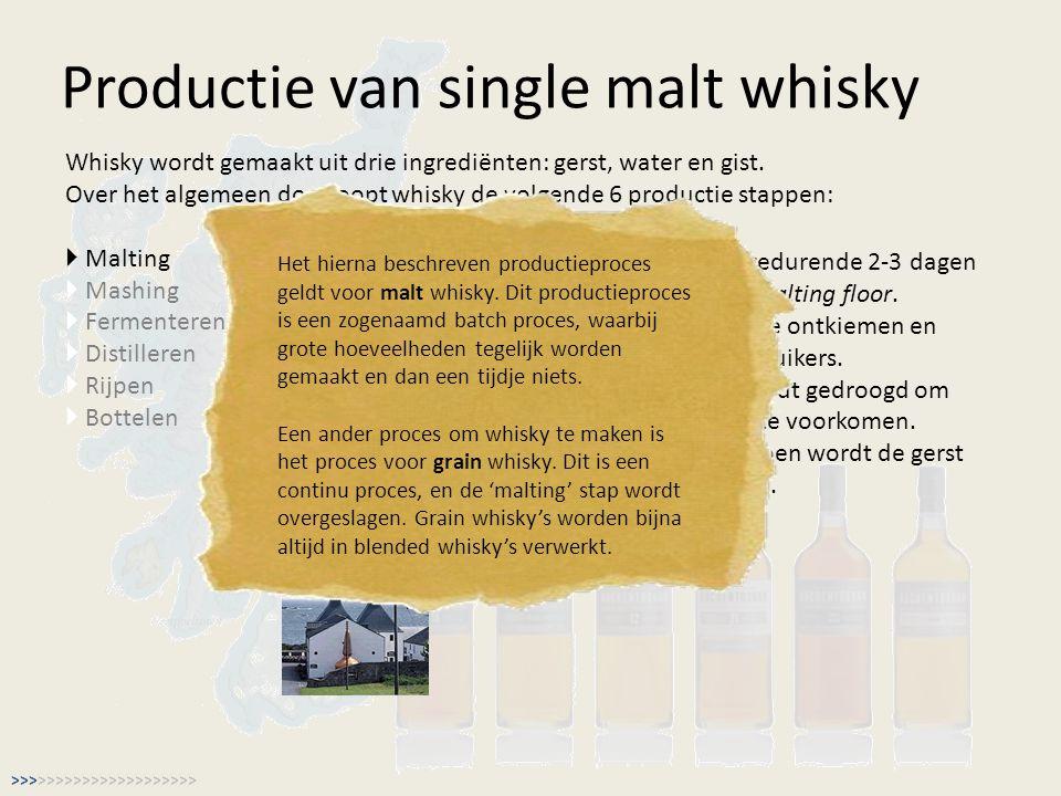 Productie van single malt whisky Whisky wordt gemaakt uit drie ingrediënten: gerst, water en gist. Over het algemeen doorloopt whisky de volgende 6 pr