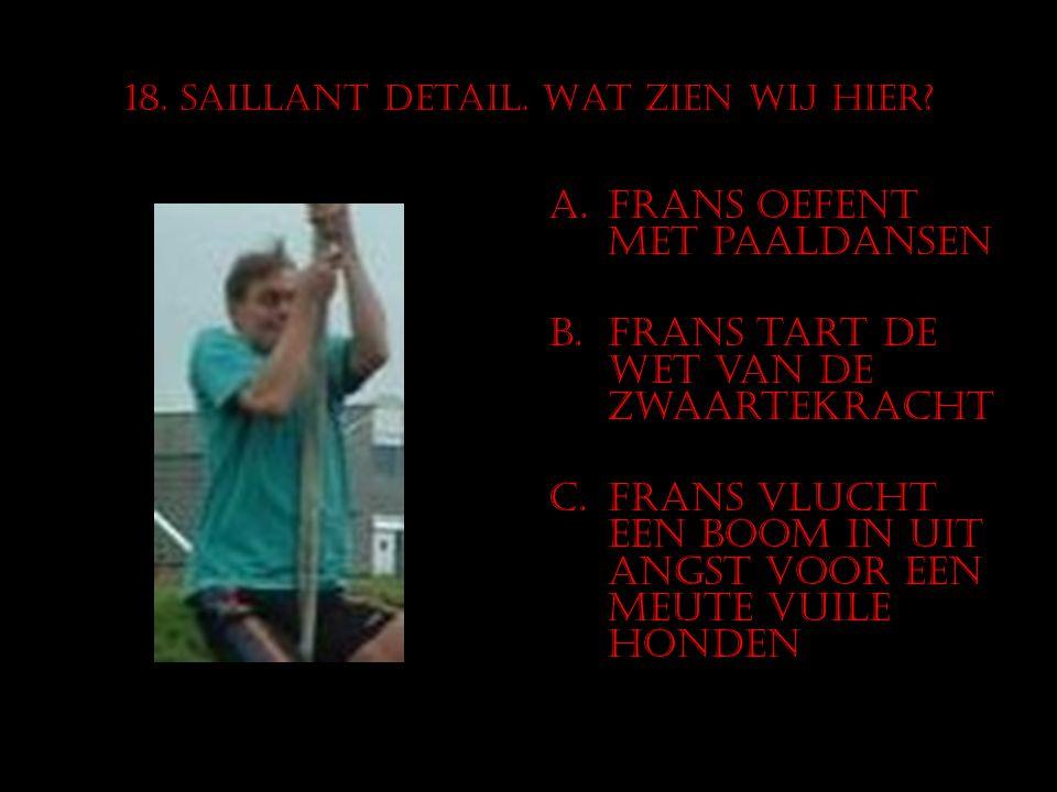 18. Saillant detail. Wat zien wij hier? A.Frans oefent met paaldansen B.Frans tart de wet van de zwaartekracht C.Frans vlucht een boom in uit angst vo