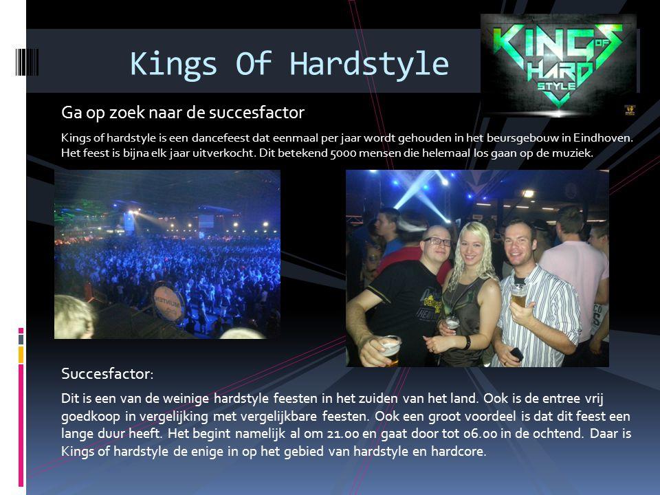 Ga op zoek naar de succesfactor Kings of hardstyle is een dancefeest dat eenmaal per jaar wordt gehouden in het beursgebouw in Eindhoven. Het feest is