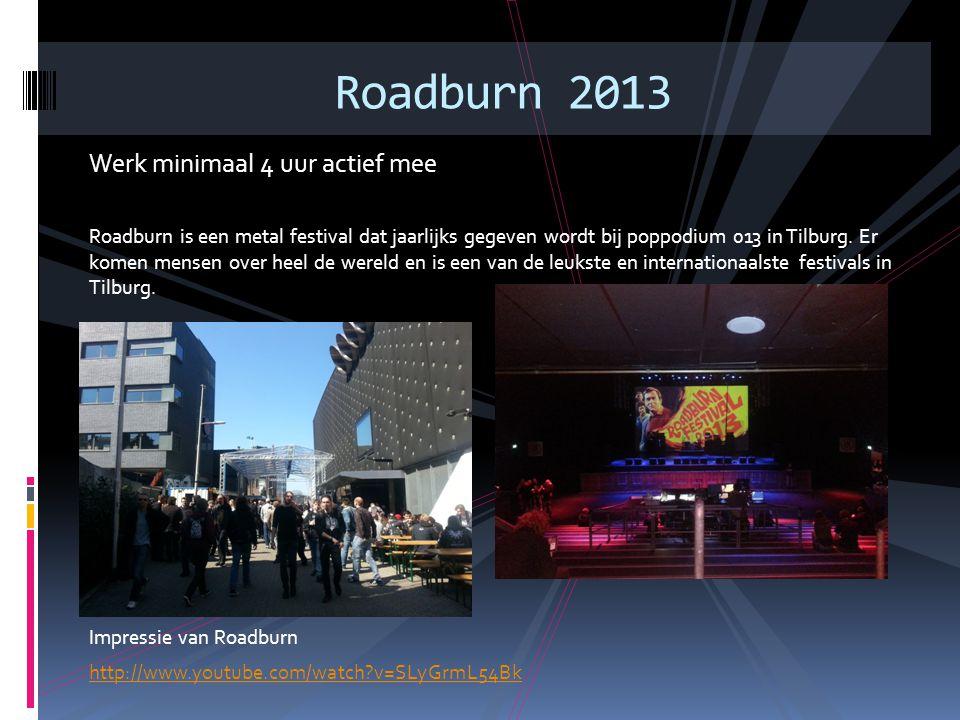 Werk minimaal 4 uur actief mee Roadburn is een metal festival dat jaarlijks gegeven wordt bij poppodium 013 in Tilburg. Er komen mensen over heel de w