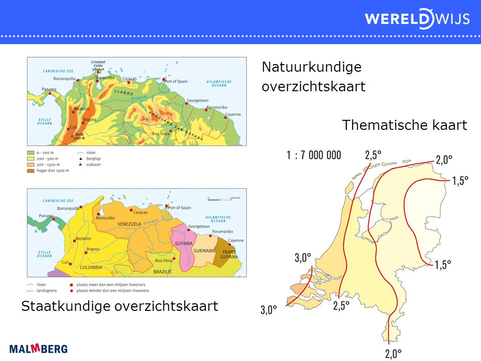 Natuurkundige overzichtskaart Thematische kaart Staatkundige overzichtskaart