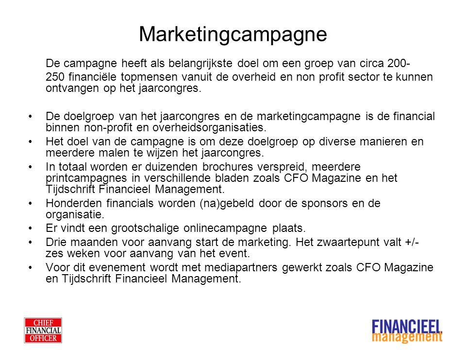 Marketingcampagne De campagne heeft als belangrijkste doel om een groep van circa 200- 250 financiële topmensen vanuit de overheid en non profit sector te kunnen ontvangen op het jaarcongres.